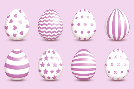 Set of realistic easter decorated eggs on coral background. Easter collection. Vector illustration.