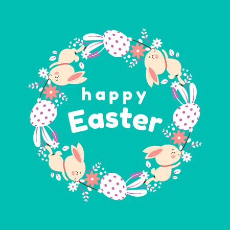 Happy Easter wreath. Vector illustration with colorful wreath of flowers, eggs and rabbits. Isolated on turquoise background. Çizim