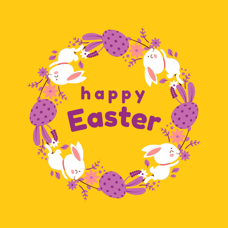 Happy Easter wreath. Vector illustration with colorful wreath of flowers, eggs and rabbits. Isolated on yellow background.