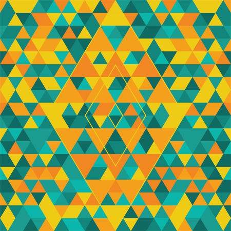 Geometric seamless pattern with colorful triangles. Turquoise, yellow and orange.