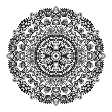 Black and white ethnic mandala on white background. Circular decorative pattern.