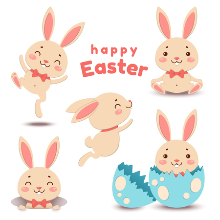 Collection of cute cartoon Easter bunnies and cracked egg. Vector illustration. Çizim