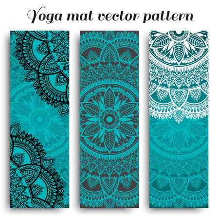Set of ethnic designs for yoga mat. Turquoise vector pattern with mandala.