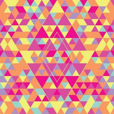 Geometric seamless pattern with colorful triangles. Pink, yellow and purple. Çizim