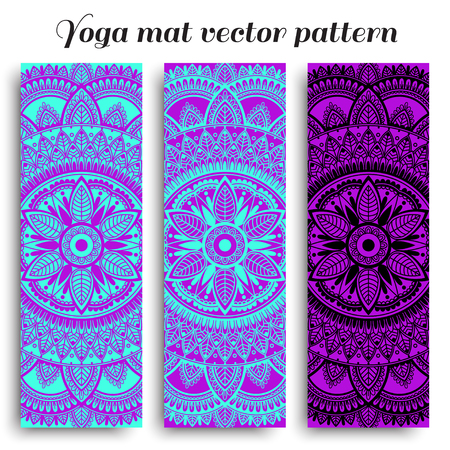 Set of yoga mats with ethnic designs. Turquoise, black and purple vector pattern with mandala. Çizim