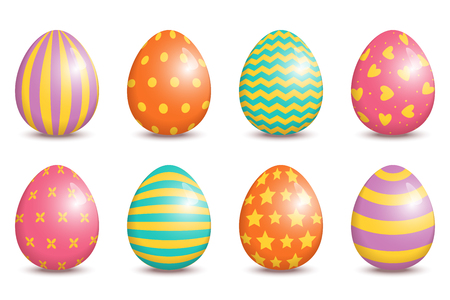 Set of realistic easter decorated eggs isolated on white background. Easter collection. Vector illustration.