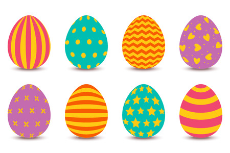 Set of Easter painted eggs isolated on white background.