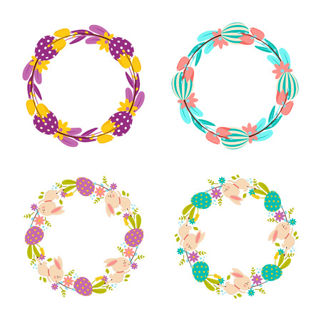 Happy Easter wreaths. Set of colorful wreaths of flowers, eggs and rabbits. Isolated on white background.