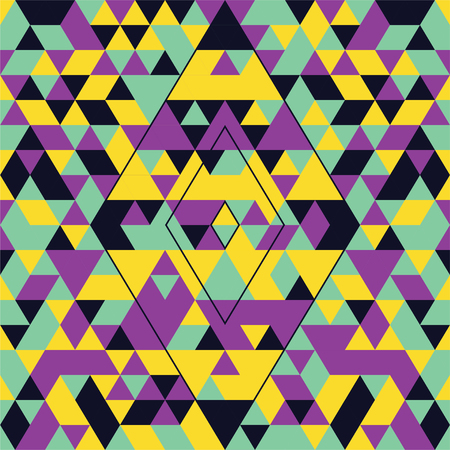 Geometric seamless pattern with colorful triangles. Turquoise, yellow and purple. Çizim