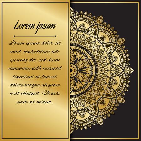 Golden mandala. Template for congratulations on the wedding, birthday, invitation, gratitude, celebration