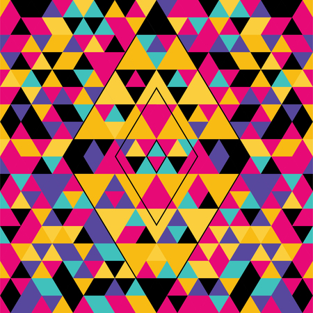 Geometric seamless pattern with colorful triangles. Pink, yellow, black and purple.