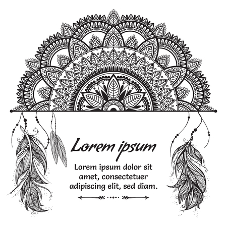 Ethnic boho template with black and white mandala, feathers and text place on white background.