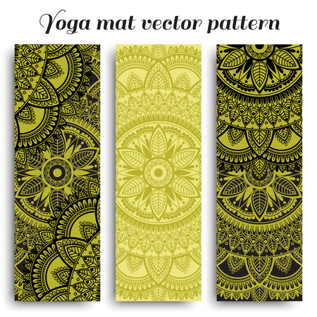 Set of yoga mats with ethnic designs. Green and black three vector patterns with mandala. Illustration
