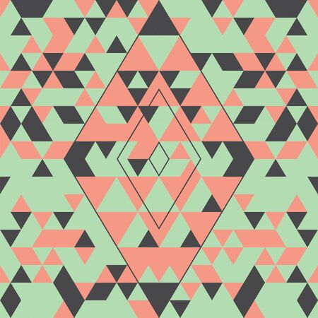 Geometric seamless pattern with colorful triangles. Pink, green and grey.