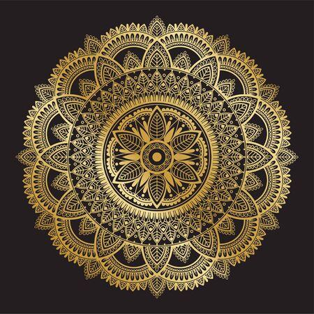 Detailed ethnic golden mandala on black background. Çizim