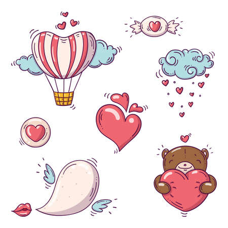 Set of elements for st. Valentines day in doodle style on white background