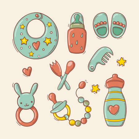 Hand drawn set of toys and accessories for baby