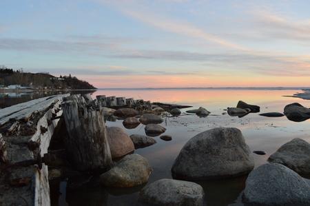 saskatchewan: Sunset over Blackfish lake in Cochin Saskatchewan. Stock Photo