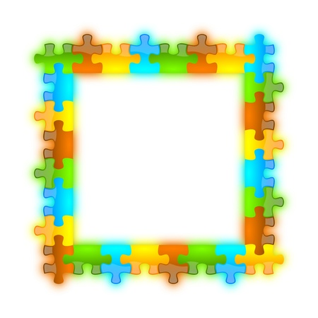 Colored, glossy, brilliant and jazzy puzzle frame 8 x 8 format with shadow