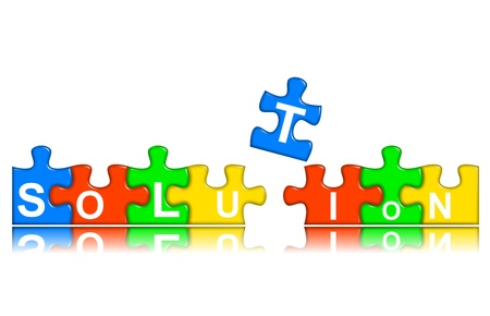 multi-color puzzle pieces combined representing solution concept