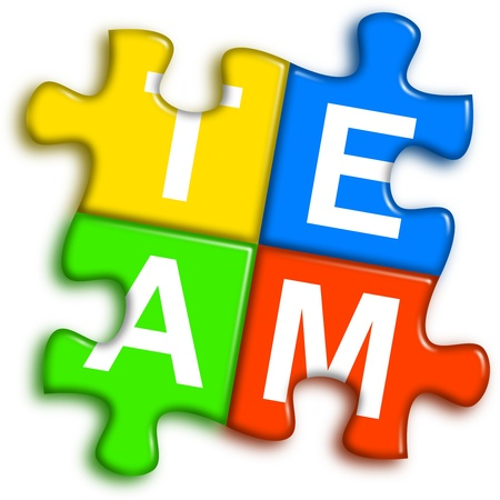 unit: four multi-color puzzle pieces combined representing team concept Stock Photo