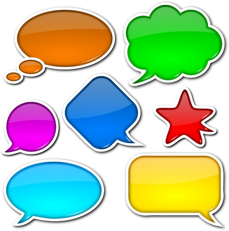 speach: Glossy, colorful, empty and blank comic speech bubbles set with white border and shadow on white background