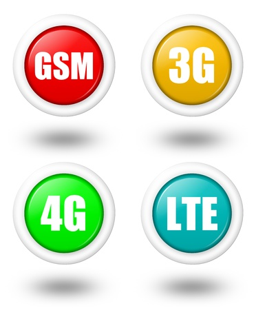 3g: Colored LTE, 4G, 3G and GSM telecommunication icon set with shadow Stock Photo
