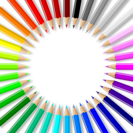 Rainbow of colorful wood pencils arranged in circle on empty white background illustration