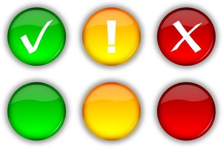 no pase: Brillante iconos web de seguridad y botones vacíos establecidos