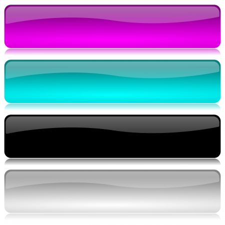 navigation object: Cold colored and glossy bar set with reflection on white background illustration