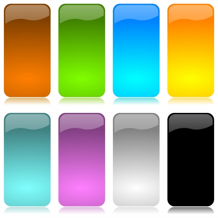 navigation object: Colored and glossy vertical bar set with reflection on white background illustration