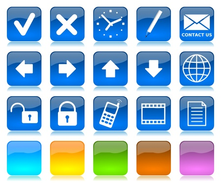 White on blue glossy internet icons series and five colors blank customizable buttons photo