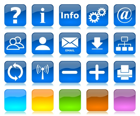 minus: White on blue glossy internet icons series and five colors blank customizable buttons