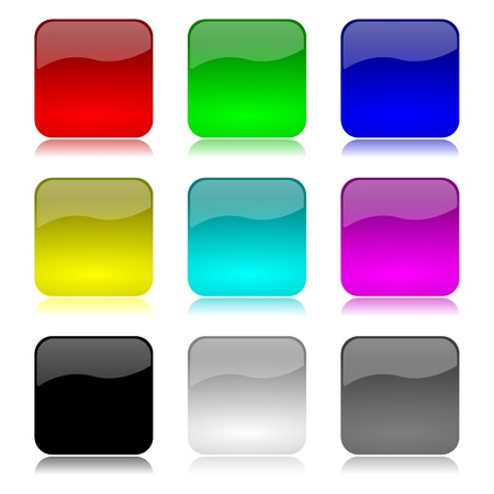 Colored and glossy app buttons set with reflection on white background illustration