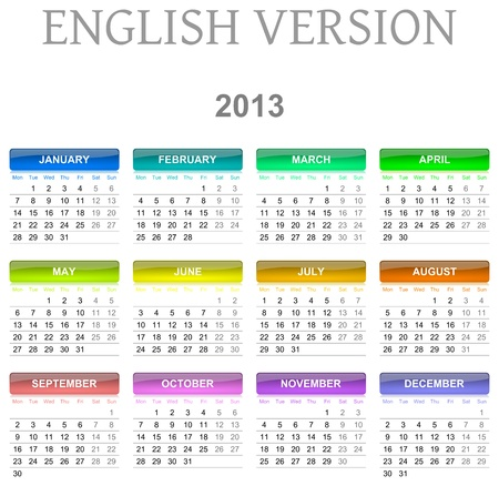 Colorful monday to sunday 2013 calendar english version illustration Stock Illustration - 14636155