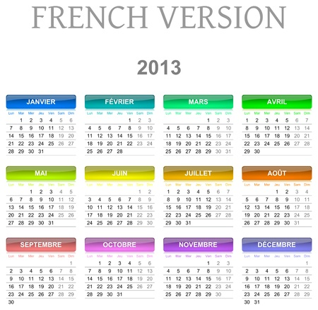 Colorful monday to sunday 2013 calendar french version illustration