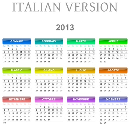 Colorful monday to sunday 2013 calendar italian version illustration illustration