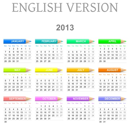 Colorido lunes a domingo calendario de 2013 con la ilustraci�n de l�pices de colores versi�n en Ingl�s photo