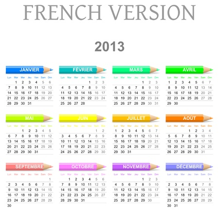 Colorful monday to sunday 2013 calendar with crayons french version illustration Stock Photo