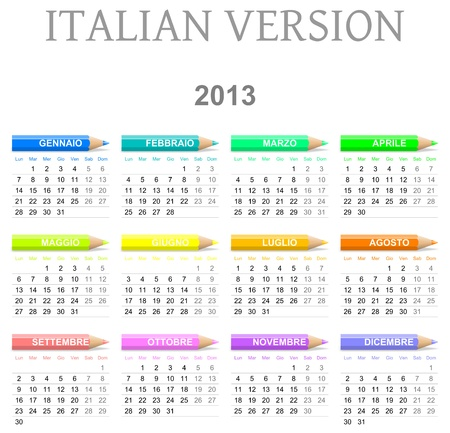 Colorful monday to sunday 2013 calendar with crayons italian version illustration Stock Illustration - 14636144