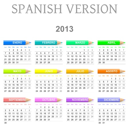 Colorful monday to sunday 2013 calendar with crayons spanish version illustration Stock Photo
