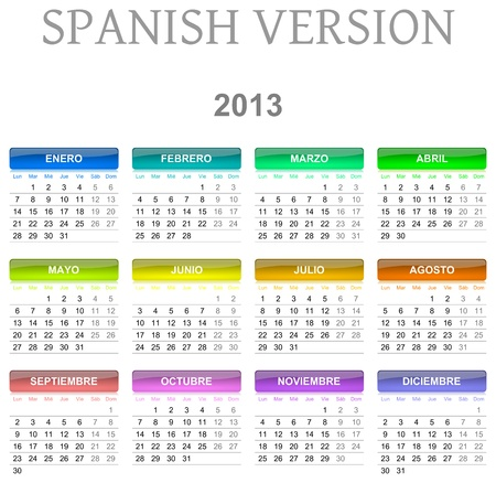 Colorful monday to sunday 2013 calendar spanish version illustration Stock Photo