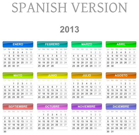 Colorful monday to sunday 2013 calendar spanish version illustration Stock Photo