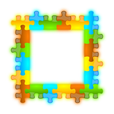 Colored and jazzy puzzle frame background 6 x 6 format photo