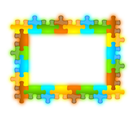 Colored and jazzy puzzle frame background 6 x 8 format photo