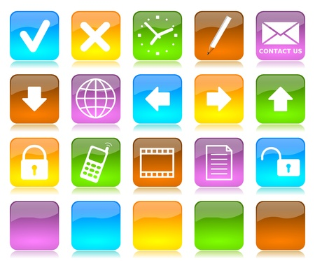 contact sheet: Colorful glossy internet icons series and five colors blank customizable buttons