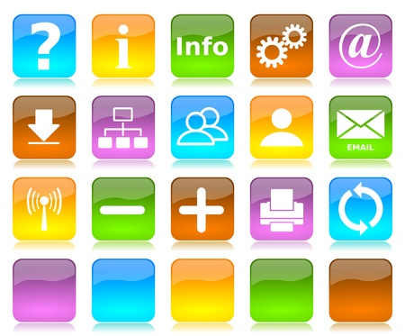 Colorful glossy internet icons series and five colors blank customizable buttons