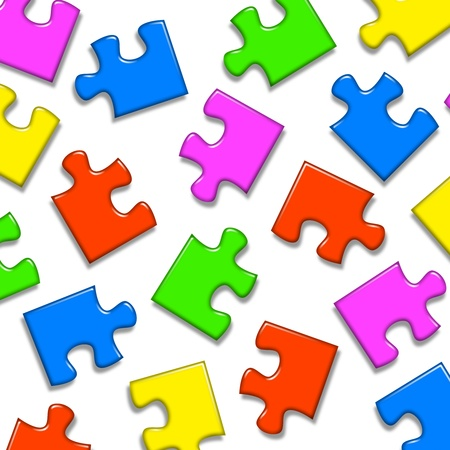 jazzy: Colored puzzle pieces in four color on white empty background Stock Photo