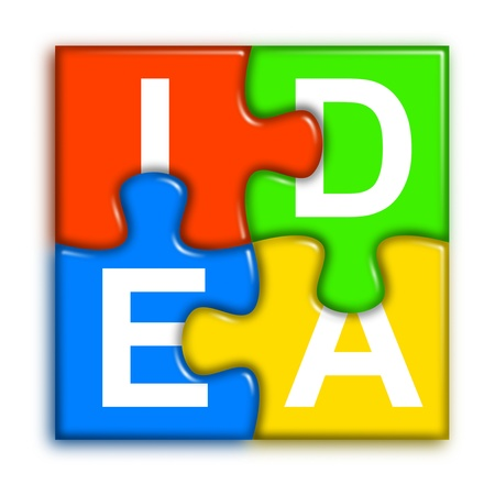 project team: four multi-color puzzle pieces combined representing idea concept