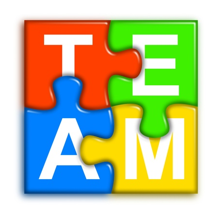 four multi-color puzzle pieces combined representing team concept Stock Photo
